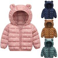 Toddler Baby Boys Girls Winter Cartoon Windproof Coat Hooded Warm Outwear Jacket