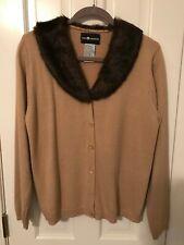 Tan Cardigan Sweater with Faux Mink Collar sz M