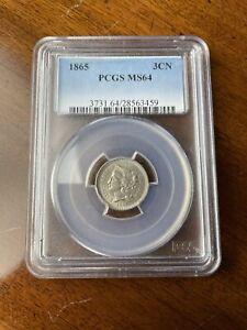 1865 3CN Three-Cent Nickel Piece, PCGS MS64