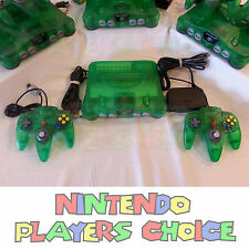 Jungle Green Nintendo 64 Console + AC Power + AV Cable + 2 NEW N64 CONTROLLERS
