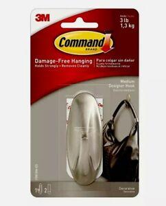 3M Command Medium Designer Hook Brushed Nickel / Chrome Effect Hold up to 1.3kg