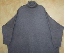 "Eskandar Boxy PLUSH 45"" Long Gray Handloomed Merino Wool Sweater Dress O/S"