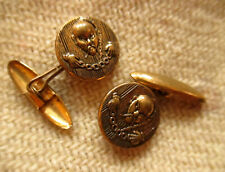 "Vtg Estate .5"" CHINESE MAGICIAN EMBOSSED Mid Century Cufflinks Set"