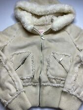 Candies Tan Cream Coat Jacket Suede Shell Zip Front Size Small