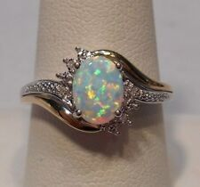Alwand Vahan~Opal & Diamond 10K Yellow Gold & 925 Sterling Silver Ring Size 8