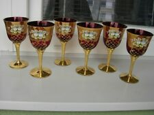 6  UNIQUE LUXURY BOHEMIAN CZECH   RUBY RED WINE GOBLETS**
