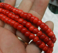 "New 4*8mm Red Natural Sea Coral Abacus Loose Beads 15"" Strand Handmade DIY"
