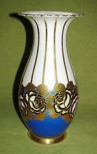 Art Deco Vase; Volkstedt Blumenmotiv Goldrand
