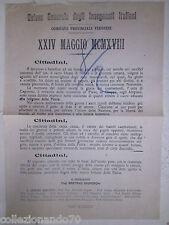 10M-VERONA UNIONE GEN.INSEGNATI ITALIANI-VOLANTINO X CELEBRARE XXIV MAGGIO 1918