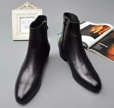 Mens Leather Cuban Low Heel Chelsea Ankle Boots Pointed Toe Fashion Shoes 0313