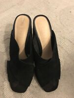 Black Suede Office Mules Size UK 7