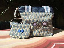 Handbag, blu, design civetta, corrispondenza portamonete FattoInCasa.