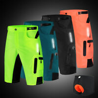 Mens Cycling Baggy Shorts MTB Bike Short Pants Casual Pants Gel Padded Loose-Fit