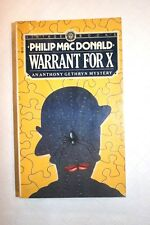 Philip MacDonald Warrant For X An Anthony Gethryn Mystery FREE SHIPPING!