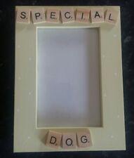 "Bespoke Personalised special dog photo Frame 6""x4"" scrabble art gift keepsake"