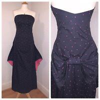 LAURA ASHLEY Vintage Black Pink Polka Dot Spot Bow Bustle Prom Gown Dress 12