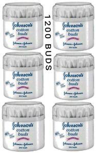 1200 PCS (200 PCS X 6) JOHNSONS BABY COTTON BUDS EAR SWABS PAPER STICKS WHITE