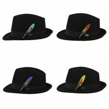 Trilby Feather Fedora Hat Unisex Wool Jazz Lightweight Curved Brim Cap Stylish