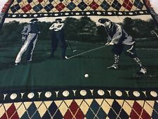 Vintage Golf Green Picnic Blanket Tapestry Woven Throw Afghan 68x49