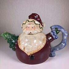 Blue Sky Clayworks Christmas Santa Tree Checklist Handled Cocoa Teapot Ms99935