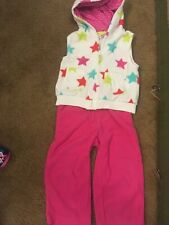 Carters Outfit 2 Piece Set 18Months Pink Baby Girl Fleece Vest Pants Stars Euc!