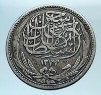 1916 EGYPT Sultan Hussein Kamil Genuine Silver 5 Piastres Egyptian Coin i78321