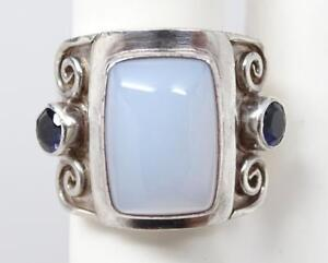 Chunky Sajen Sterling Blue Chalcedony & Iolite Ring Size 8