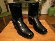 Vtg. FRYE Women's Black Leather Harness, Biker Boots 8M  USA!   #77455