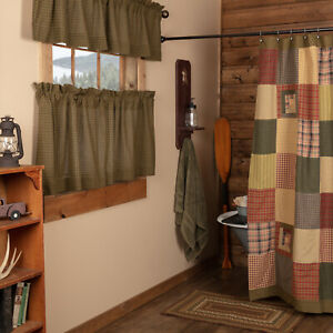 Rustic Deep Red Hunter Green Tan Cotton Patchwork Country Bath Shower Curtain