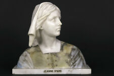 Antique large heavy MArble alabaster Bust Jeanne D'arc French 1900s rare statue