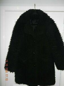 Ladies Fluffy 3/4 Length Black Coat Size 10 Super Fluffy Teddy Bear TopShop