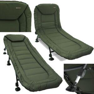 New Carp Fishing Deluxe Bedchair 6 Leg Recliner Pillow Bed Chair NGT Mud Feet