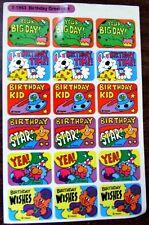 VINTAGE 1980'S TREND HAPPY BIRTHDAY DINOSAURS SPACESHIP STARS STICKER SHEET!