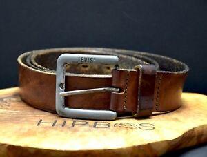 Levis Vintage Mens Leather Jeans Belt Brown Size 40