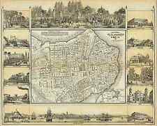 MAP OF HAVANA CUBA 1853 Vintage City Map Giclee CANVAS ART PRINT 29x24 in.