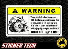 WARNING EXTREME ROCK CRAWLER 4WD 4X4 STICKER DECAL SUITS UTE GQ GU PATROL FJ