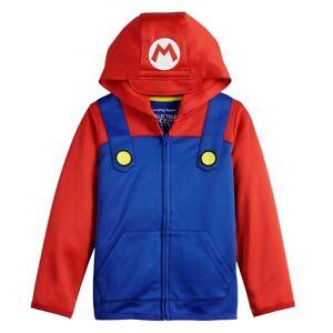 Sz 4-12 Kids Nintendo Super Mario Brothers Boy Girl Zip Front Hoodie Jacket Red