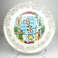 Souvenir Hawaii 50th State Aloha Plate Commemorative Statehood Vintage 1960s
