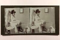 Donna Seminuda Erotico Foto Stereo Vintage Citrato c1900