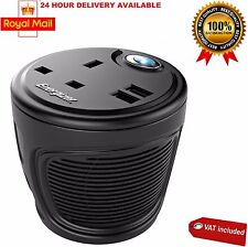 Energizer 120W Cup Holder Power Inverter Charge 3 Devices Blue LED 2xUSB Ports