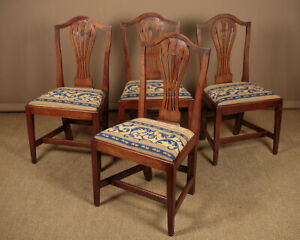 Four Fruitwood Country Chippendale Dining Chairs c.1800