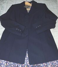 Laura Ashley Vintage Long Jacket, Navy 100% Pure Wool Fitted Tailored 16 UK