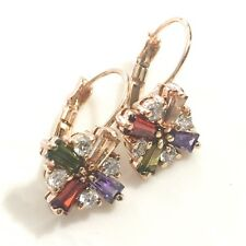 Green Red Purple Topaz Diamond Hoop Earrings Yellow Gold Engagement Jewelry E211