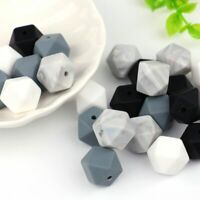 10Pcs Silicone Hexagon Beads Baby Teething Bracelet Teether Sensory Toy Making