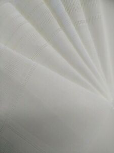 New Men's Handkerchief all Hemstitched Linen embroidery perforated White 12 Pack