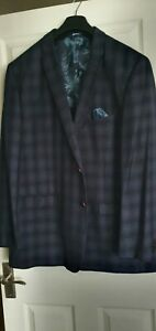 """Immaculate Blue Check Mens Formal Jacket Size 54"""""""
