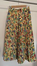 Fink Modell Vintage Skirt Size 10 Bright Colourful Floral Pleated Midi 70s 80s