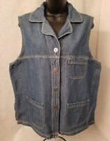 Crossroads Womens Blue Jean Button Down Shirt Top Blouse Size L
