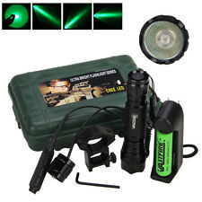 Tactical 5000LM Q5 Green Light LED Military Flashlight Torch Rifle Light+Switch