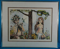 Charles Bragg Untitled 'Garden of Eden' Lithograph Hand Colored LE Signed